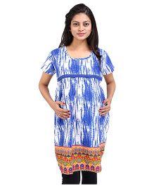MomToBe Short Sleeves Printed Maternity Kurti - Blue
