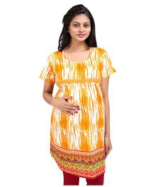MomToBe Short Sleeves Printed Maternity Kurti - Yellow