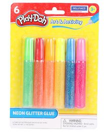 Play Doh Neon Glitter Glue Pack Of 6 - Multi Color