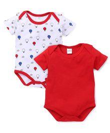 Babyhug Half Sleeves Onesies Pack Of 2 - White & Red