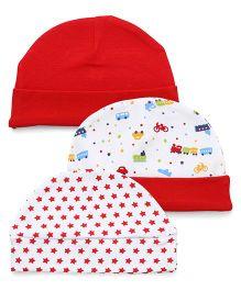Babyhug Round Cotton Caps Pack Of 3 - White & Red