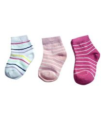 Footprints Organic Cotton Stripe Socks- Pack of 3 - Multicolor