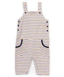 Babyhug Striped Dungaree With Pocket - White Yellow Navy
