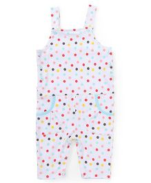 Babyhug Dotted Dungaree With Pockets - White Multi Color