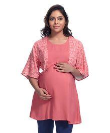 Kriti Half Sleeves Maternity Kurti - Coral