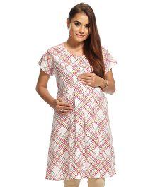 Kriti Maternity Printed Kurta With Front Zipper - Multi Color