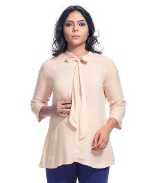 Kriti Half Fold Up Sleeves Solid Color Maternity Tunic - Peach