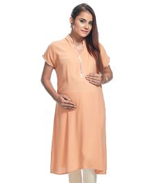Kriti Short Sleeves Maternity Kurti - Light Orange