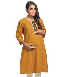 Kriti Full Sleeves Maternity Kurti - Orange