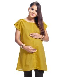 Kriti Short Sleeves Nursing Tunic Dotted - Mustard Yellow