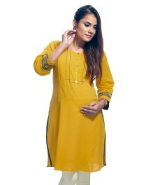 Kriti Three Fourth Sleeves Maternity Nursing Kurti - Yellow
