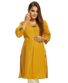 Kriti Three Fourth Sleeves Maternity Nursing Kurti -Yellow