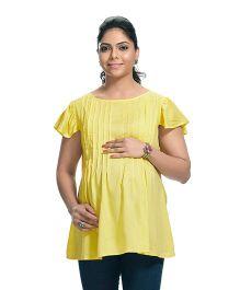 Kriti Cap Sleeves Round Neck Maternity Tunic - Yellow