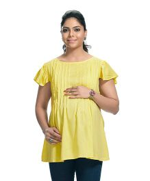 Kriti Cap Sleeves Round Neck Maternity Tunic - Yellow