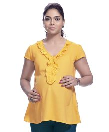 Kriti Short Sleeves Maternity Nursing Tunic Top - Yellow