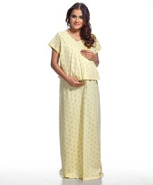 Kriti Short Sleeves Printed Maternity Nursing Nighty - Yellow