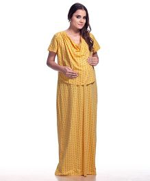 Kriti Short Sleeves Maternity Nighty Allover Print - Yellow