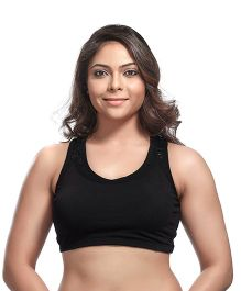 Kriti Double Layer Maternity Nursing Sports Bra - Black