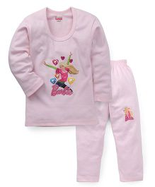 Bodycare Barbie With Balloon Printed  Winter Wear Set - Light Pink