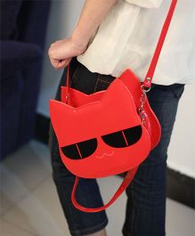 Milonee Cat Face Quirky Sling Bag - Red