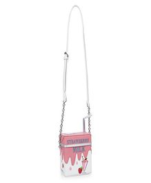 Milonee Cool Strawberry Milk Quirky Sling Bag - Pink
