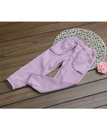 Dazzling Dolls Harem Pants With Ruffled Pockets - Purple