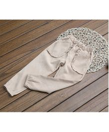 Dazzling Dolls Harem Pants With Ruffled Pockets - Beige