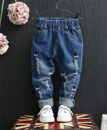 Dazzling Dolls Cool Cherry Applique Ripped Denim Pants - Blue