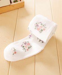 Dazzling Dolls Waist High Floral Stockings - White