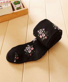 Dazzling Dolls Waist High Floral Stockings - Black