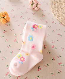 Dazzling Dolls Waist High Floral Stockings - Pink