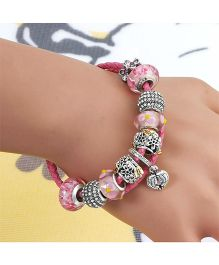 Dazzling Dolls Sterling Braided Bracelet With Murano Beads & Charms - Pink