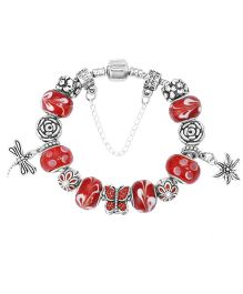 Dazzling Dolls Sterling Braided Bracelet With Murano Beads & Charms - Red