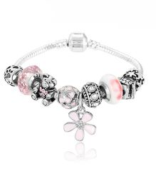 Dazzling Dolls Sterling Braided Bracelet With Charms - Pink