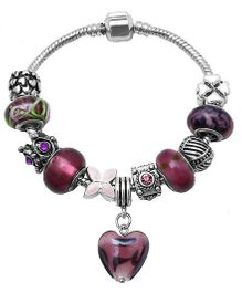 Dazzling Dolls Sterling Braided Bracelet With Murano Beads & Charms - Multicolor