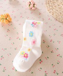 Dazzling Dolls Stylish Waist High Floral Stockings - White