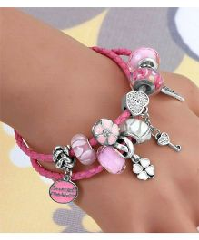 Dazzling Dolls Sterling Bracelet With Flower Charms - Pink