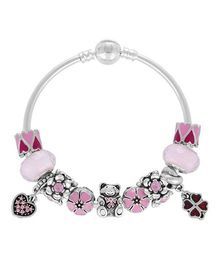 Dazzling Dolls Sterling Bracelet With Murano Beads & Charms - Pink