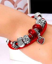 Dazzling Dolls Sterling Braided Bracelet With Murano Beads & Charms -Red