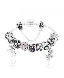 Dazzling Dolls Sterling Braided Bracelet With Murano Beads & Charms -Silver