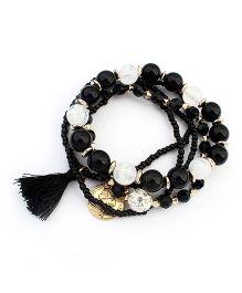 Dazzling Dolls Beaded Bohemian Coin Charm Elastic Bracelet -Black