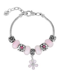 Dazzling Dolls Sterling Braided Bracelet With Murano Beads & Charms -Pink