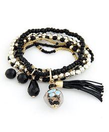 Dazzling Dolls Beaded Boho Elastic Bracelet With Charms -Black