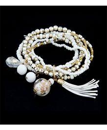 Dazzling Dolls Beaded Boho Elastic Bracelet With Charms -White