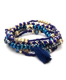 Dazzling Dolls Beaded Boho Tassel Elastic Bracelet -Blue