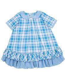 Moobaa Plaid Dress With Peter Pan Collars - Blue