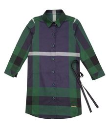 Moobaa Plaid Shirt Dress With Side Waist Tie On - Blue & Green