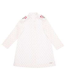 Moobaa A Line Dress With Embroidered Apaulette - White