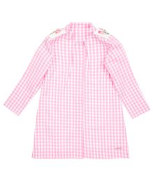 Moobaa Gingham Dress With Embroidered Apaulette - Pink & White