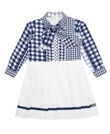 Moobaa Flared Dress With Sailor Bow - White & Blue